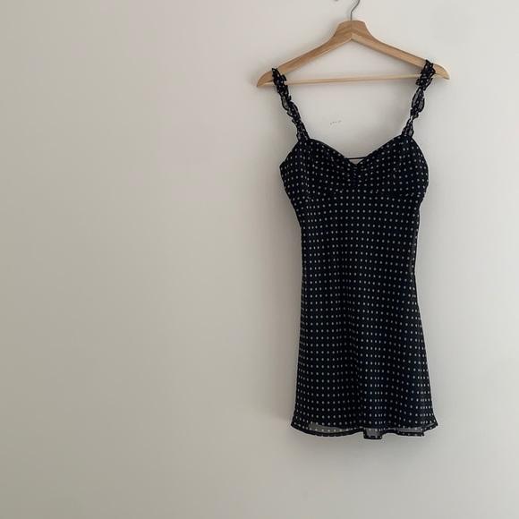 Chiffon summer dress polka dot black Sz S